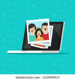 Photos on laptop computer screen vector illustration, flat cartoon photo cards on pc display, idea of photography gallery viewing, multimedia album, digital photos