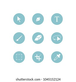 Photoshop toolbar icon set on white background, vector