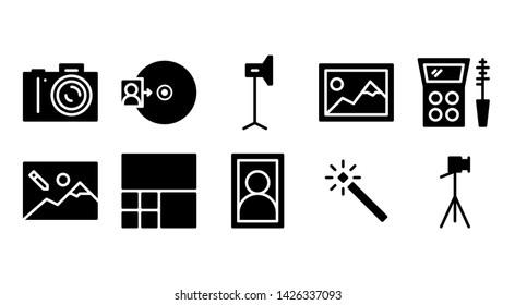 photostudio glyph icon symbol set