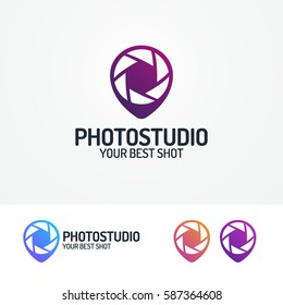 Photostudio logo set with aperture and pin modern color style for use photoschool, photoeducation, photolaboratory, food photo; wedding and etc. Vector Illustration