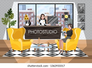 Photostudio reception interior. Woman waiting for photographer. Administrator sitting at the counter. Vector illustration in cartoon style