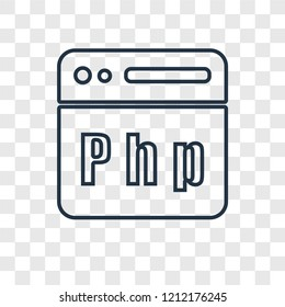 Php concept vector linear icon isolated on transparent background, Php concept transparency concept in outline style