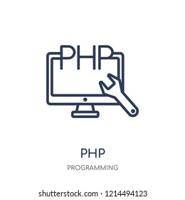 Php icon. Php linear symbol design from Programming collection. Simple outline element vector illustration on white background.