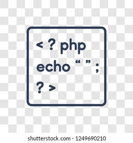 Php icon. Trendy linear Php logo concept on transparent background from Programming collection