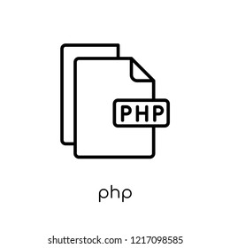 Php icon. Trendy modern flat linear vector Php icon on white background from thin line Programming collection, editable outline stroke vector illustration