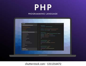 PHP programming language. Learning concept on the laptop screen code programming. Command line php interface with flat design and gradient purple background.