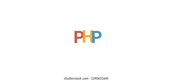 "Php word concept. Colorful ""Php"" on white background. Use for cover, banner, blog."