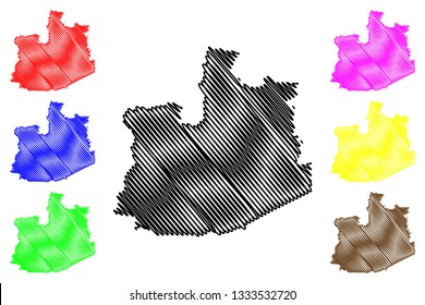 Phra Nakhon Si Ayutthaya Province (Kingdom of Thailand, Siam, Provinces of Thailand) map vector illustration, scribble sketch Phra Nakhon Si Ayutthaya map