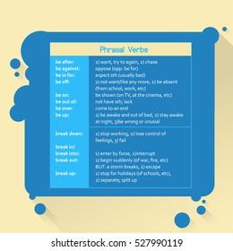 Phrasal verbs. English grammar. Flat style