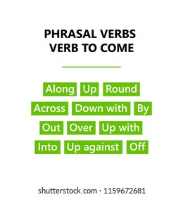 Phrasal verbs. English grammar. Verb to come. Word Cloud.