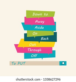 Phrasal verbs. English grammar. Verb to put. Word Cloud.