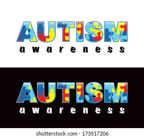 "The phrase ""Autism Awareness"" written in jigsaw puzzle pieces. Autism Awareness colors and symbols, conveniently provided on a light and dark background. Vector EPS 10."