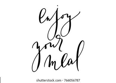 Phrase enjoy your meal handwritten text vector