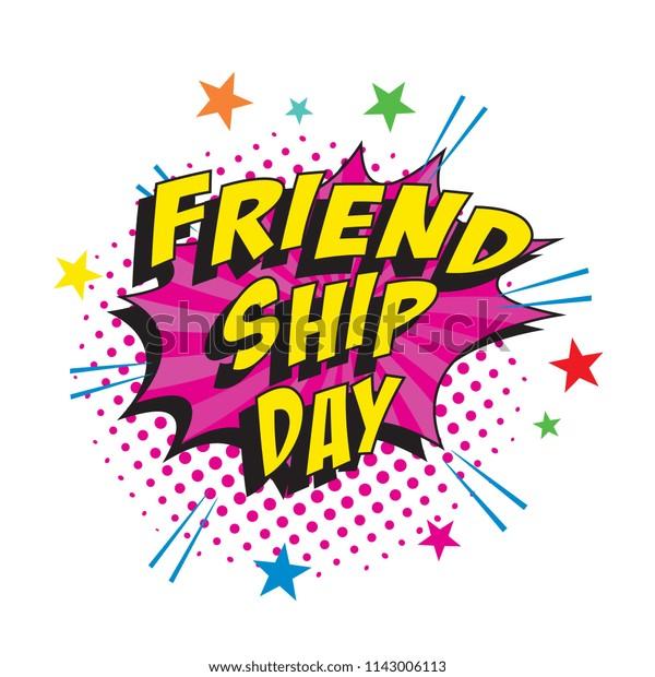 Phrase Friendship Day On Colorful Retro Stock Vector
