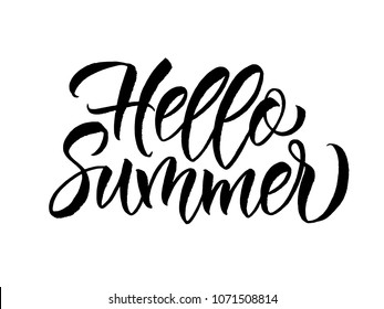 Phrase Hello Summer. Brush lettering composition. Summer Holidays lettering for invitation, greeting card, prints and posters. Vector illustration EPS10.