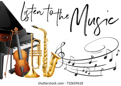 Phrase listen to music with many instruments in background illustration