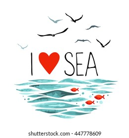 The phrase I Love Sea with seagulls, waves and 3 little red fish. Vector illustration in a circle shape on a white background.