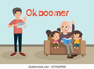 Phrase ok boomer, generation z, grandfather teaches grandchildren, reads a book, generational conflict, vector