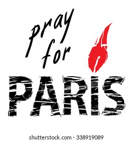 phrase Pray for Paris, with a candle for a prayer in the form of letters I with red flame and black letters