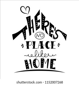 Phrase There's no place like home. Hand drawn lettering in shape of house. Inspirational quote.