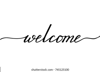Phrase welcome handwritten text vector