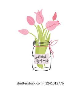 Phrase Welcome Spring with decorative bouquet of tulip in glass jar Calligraphy spring quote for card, poster, t-shirt, banners designs. Vector illustration Hand drawn colorful flowers for invitation