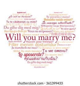 Phrase will you marry me in different languages. Words in cloud in the shape of heart.Vector illustration.