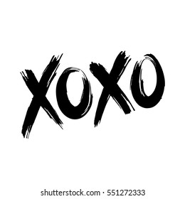 Phrase XOXO (hugs and kisses) black brush lettering on a white background. Slogan can be used as design element for postcard or print. Vector illustration