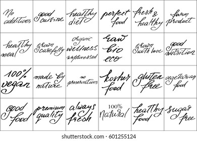 Phrases text label food handwriting set of 28 phrases for healthy food and natural products. Handwritten black text isolated on white background, vector. Each phrase is on the separate layer.