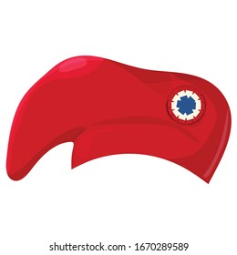 Phrygian cap also known as red liberty hat of France with tricolor red white and blue cockade as one of the french revolution symbols. Great for Bastille Day and french history illustrations.