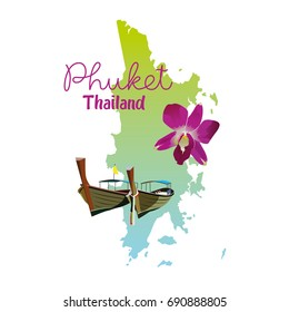 Phuket island map in Thailand