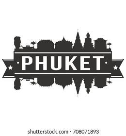 Phuket Skyline Silhouette City Vector Design Art