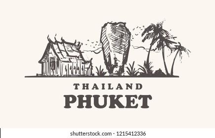 Phuket skyline, Thailand vintage vector illustration, hand drawn landmarks of Phuket,isolated  on white background.