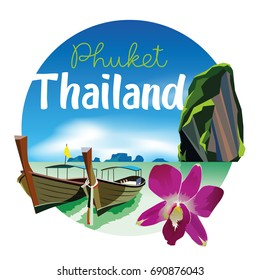 Phuket Thailand Beach Scenery Illustration with orchid