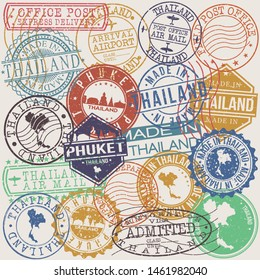 Phuket Thailand Set of Stamps. Travel Stamp. Made In Product. Design Seals Old Style Insignia.