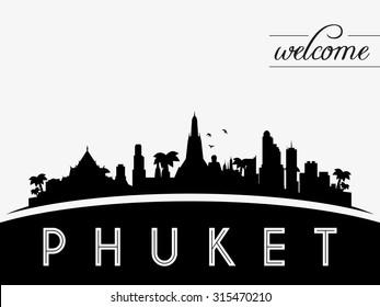 Phuket Thailand skyline silhouette, black and white design, vector illustration