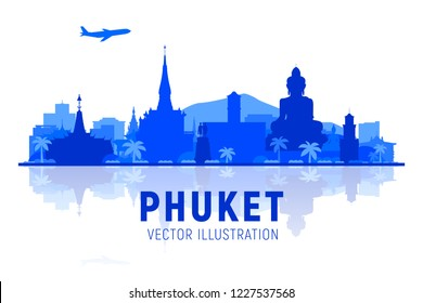 Phuket ( Thailand ) skyline silhouette with panorama in sky background. Vector Illustration. Business travel and tourism concept with modern buildings.
