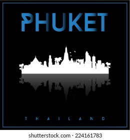 Phuket, Thailand, skyline silhouette vector design on parliament blue and black background.