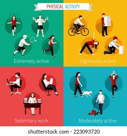 Physical activity flat set of extremely vigorously moderately active and sedentary work vector illustration