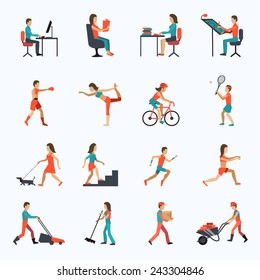Physical activity icons set with people working cycling training isolated vector illustration