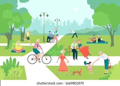 Physical activity of older people in the park. Walking, running, playing with a grandson, cycling, dog walking, yoga, reading a book, gymnastics. The concept of a healthy lifestyle outdoors.