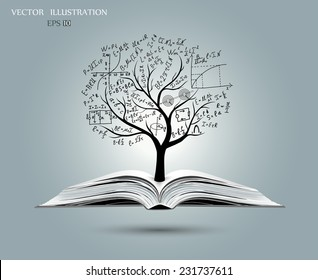 Physical concept,  tree from the mathematical equations and formulas, growing from an open-book, vector illustration modern template design