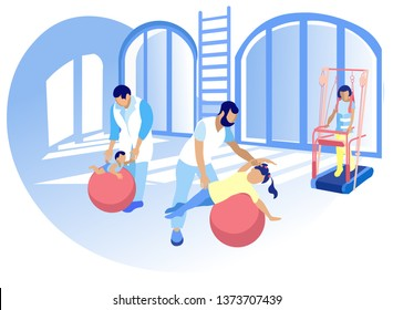 Physical Development for Children Cartoon Flat. Rehabilitation Center Staff Help Children Adapt Full Life. Children with Disabilities Strengthen Physical Strength Necessary to Handle Wheelchair.