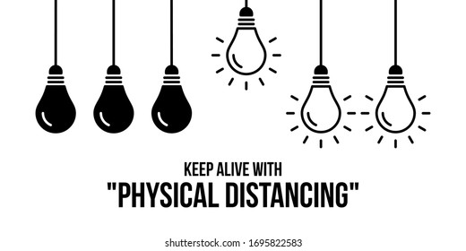 physical distancing illustration with bulb to keep alive from pandemic of viruses
