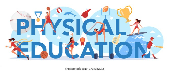 Physical education lesson school class typographic header concept Students doing excercise in the gym with sport equipment. Basketball, football, swimming and cheerleading. Vector illustration