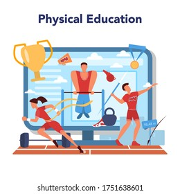Physical education lesson school class online service or platform. Students doing excercise in the gym with sport equipment. Online lesson and course. Vector illustration