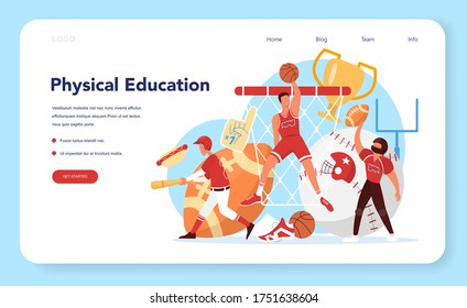Physical education lesson school class web banner or landing page. Students doing excercise in the gym with sport equipment. Basketball, football, swimming and cheerleading. Vector illustration