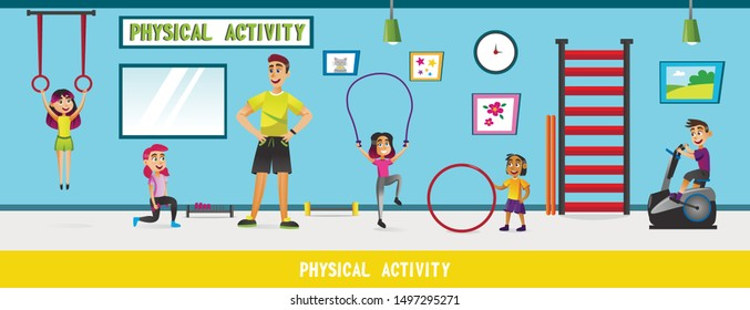 Physical Education Lesson at School Flat Cartoon Vector Illustration. People characters. Trainer and children in Gym with Sporting Equipment such as Horizontal Bar, Jump Rope, Gymnastic Hoop.