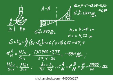 Physical equations on school board. Vector hand-drawn illustration.