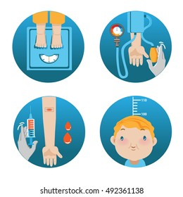 Physical Exam.Cartoon vector illustration